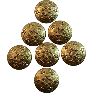 6 Gold Tone Star Buttons