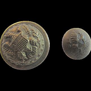 2 Military Brass Eagle Buttons Horstmann Civil War Era