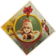 Woolson Spice Lion Coffee Christmas Girl Advertising Trade Card Victorian