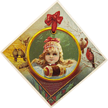Woolson Spice Lion Coffee Christmas Girl Advertising Trade Card Victorian Birds - Red Tag Sale Item