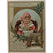Woolson Spice Lion Coffee New Year Baby Advertising Trade Card Victorian