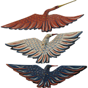 Painted Wood Eagle and Crane Bird Christmas Ornaments Patriotic Red White and Blue