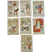 Set of 7 Clark's Nursery Rhyme Child Birth Day of the Week