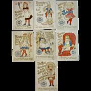 Set of 7 Clark's Nursery Rhyme Child Birth Day of the Week