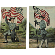 2 Patriotic 14 Star US Flag Postcards