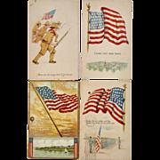 4 US Flag Patriotic Postcards