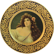 Tin Lithograph Dresden Art Plate Louise by the Meek Company