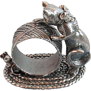 Reed & Barton Cat and Mouse Figural Napkin Ring from the 1824 Silverplate Collection