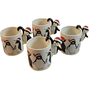 4 Christmas Penguin Figural Handle Mugs