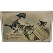 Kitty Cats in a Crate Trade Card Victorian Advertising for a Hatter & Furrier Shop