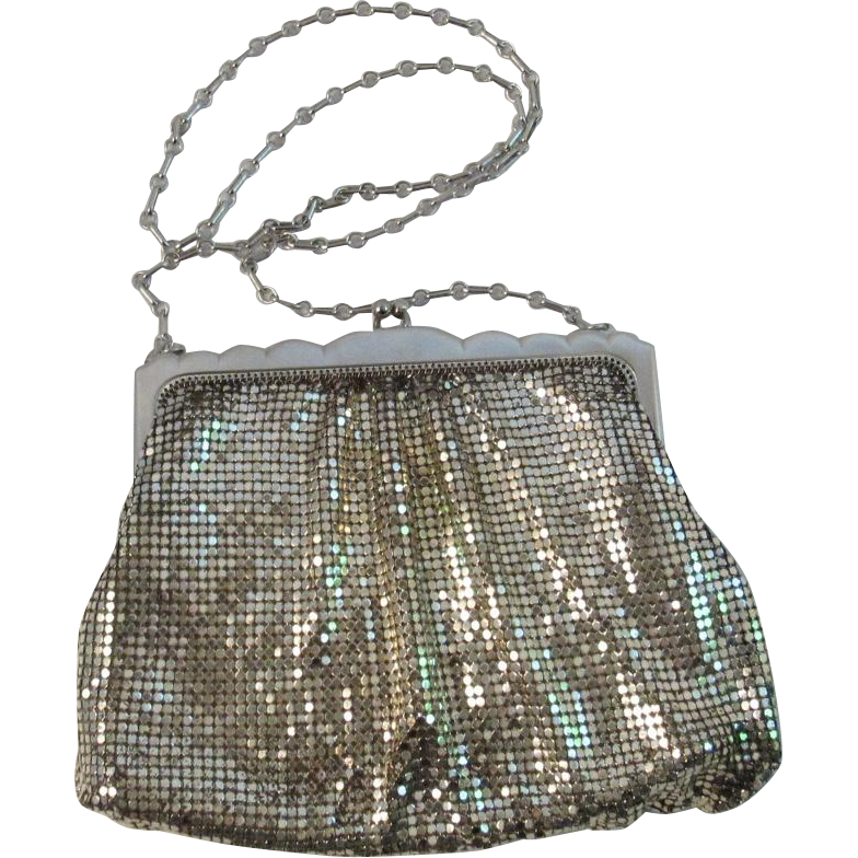 whiting davis silver mesh evening bag purse from