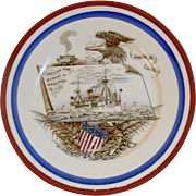 Remember the Maine Ironstone Plate Spanish American War Edwin Bennett
