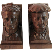 Hand Carved Walnut Bookends Artist Signed Book Ends Man & Woman