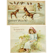 Two Farming Grain Drill Trade Cards