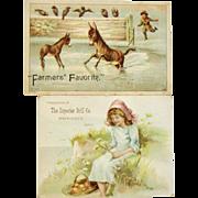 Two Farming Grain Drill Trade Cards