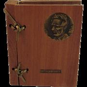 Lincoln Gettysburg Postcard Civil War Souvenir Miniature Cedar Book