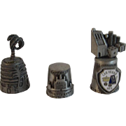 3 Pewter Thimbles Las Vegas Los Angeles and Williamsburg