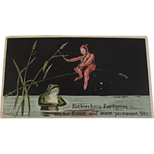 Ricksecker's Perfumes Deco Frog Ad Trade Card - Red Tag Sale Item