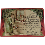 1909 Green Robe Santa Postcard With Bag of Toys, Christmas Tree & Poem from Toyland