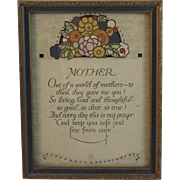 c1929 Mother Motto Print Art Deco Era