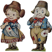 2 USA Oversized Mechanical Valentines Dutch Boy and Girl