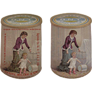 2 c1880s Clark's ONT Spool Cotton Thread Ad Trade Cards one from the Hagerstown Fair