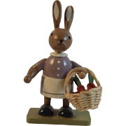 KWO Erzgebirge Easter Bunny With Carrots Basket Hand Made Wood Germany
