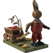 KWO Erzgebirge Easter Bunny With Egg Cart Basket Hand Made Wood Germany