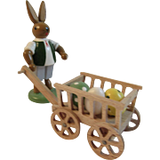 Erzgebirge Easter Bunny With Egg Cart Basket Hand Made Wood Germany