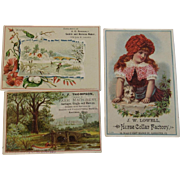 3 Victorian Adverting Trade Cards Saddle, Harness, Sleigh, Carriage and Horse Collars