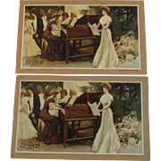 1907 Everett Piano Advertising Trade Cards - Pair