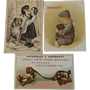 3 Victorian Ad Trade Cards Dogs and Children