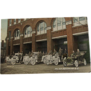 1910 Postcard Fire Hall & Trucks Vancouver BC Valentine & Sons