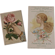 2 Perfume Advertising Trade Cards Armant's and French, Cave & Co