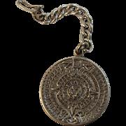 Mexican Silver Aztec Motif Key Chain