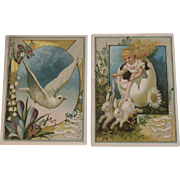 2 Woolson Spice Lion Coffee Easter Trade Cards Bunnies Doves and Little Girl