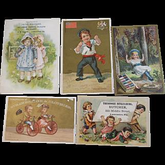 5 Victorian Children Advertising Trade Cards