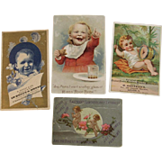 4 Victorian Babies Advertising Trade Cards