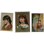 3 1880s Litho Corn Starch Advertising Trade Cards