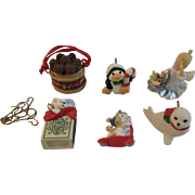 6 Hallmark Miniature Christmas Ornaments Cats Penguin Angel Seal & Pinecone Basket
