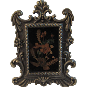 Dollhouse Miniature Dried Flowers in Pewter Frame
