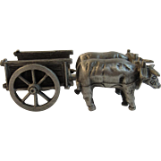 Pewter Miniature Oxen Cart by Old Sturbridge Village