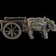Pewter Miniature Oxen Cart by Old Sturbridge Village