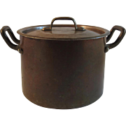 French Copper Pot with Lid Made in France Brass Handles Vintage Kitchen