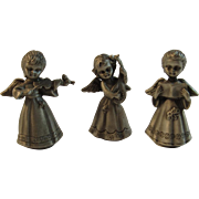 3 Pewter Miniature Angel Musicians Trio