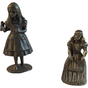 2 Pewter Miniature Girl Figurines