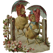 CD Kenny Easter Die Cut Ad Trade Card with Chicks Diecut