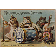 Musical Cats Brooks Spool Cotton Ad Trade Card