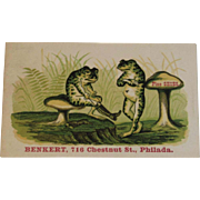 Frogs Toads Ad Trade Card from Shoe Store in Philadelphia
