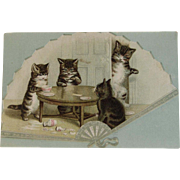 Victorian Fan Cats Ad Trade Card from Faultless Biscuits Cakes and Crackers